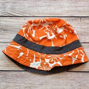 Carter's Orange Floral Print Bucket Hat 2-in-1